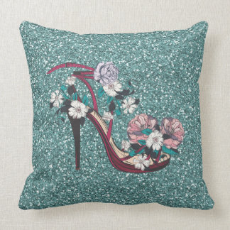 Maroon Flower Decorated Shoe With Green Glitter Cushion