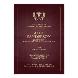Maroon+Gold Caduceus Doctor Graduation Invitation