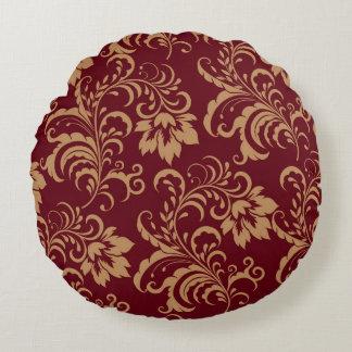 Maroon Gold Floral Swirl Round Cushion