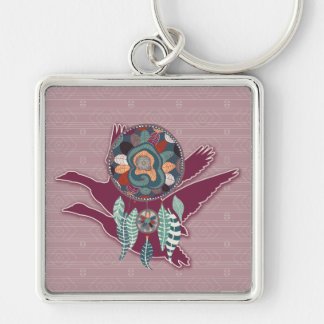 Maroon Goose Spirit Guide for Native American Silver-Colored Square Key Ring
