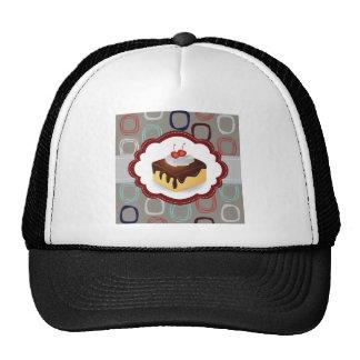 Maroon/Gray Cake with Cherries Mesh Hats