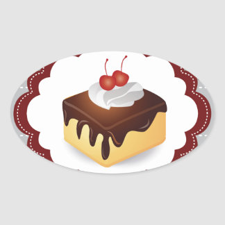 Maroon/Gray Cake with Cherries Oval Sticker