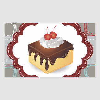 Maroon/Gray Cake with Cherries Rectangular Sticker