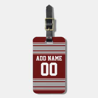 Maroon Gray Football Jersey Custom Name Number Bag Tag