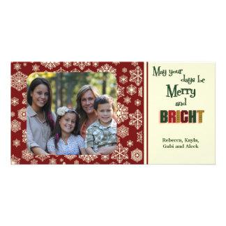 Maroon Holiday Snowflakes Card