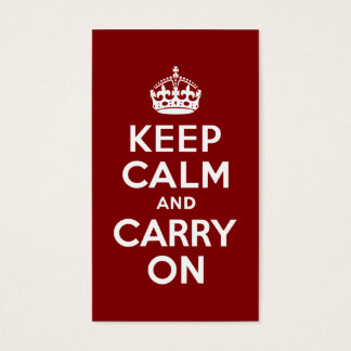 Maroon Keep Calm and Carry On Business Card