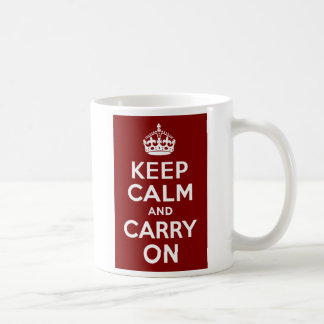 Maroon Keep Calm and Carry On Coffee Mug