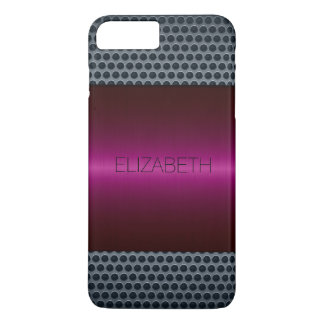 Maroon Luxury Stainless Steel Metal Look iPhone 7 Plus Case