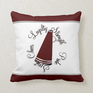 Maroon Megaphone Cheerleader Creed Pillow
