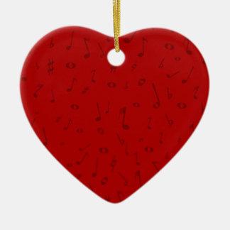 Maroon Music Background Ceramic Heart Decoration