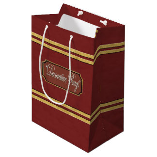 Maroon or Red Gold Lines Medium Gift Bag
