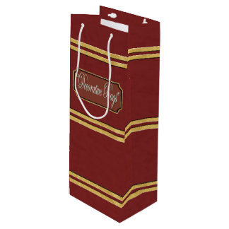 Maroon or Red Gold Lines Wine Gift Bag