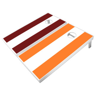 Maroon Orange and White Add Your Logo Cornhole Set