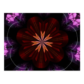 Maroon Orange Purple Flower Fractal Art Gifts Postcard