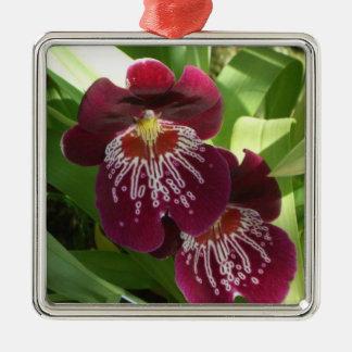 Maroon Orchids II Elegant Floral Christmas Ornament