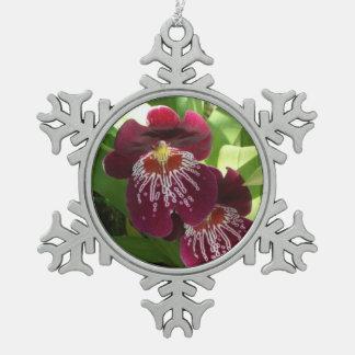 Maroon Orchids II Elegant Floral Snowflake Pewter Christmas Ornament