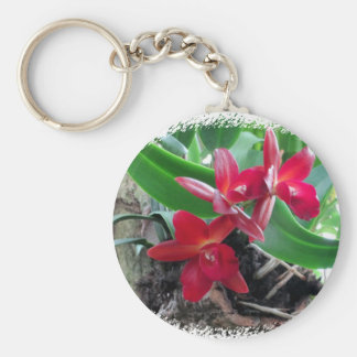 Maroon Orchids with Oval Framing Basic Round Button Key Ring