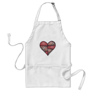 Maroon Padded Quilted Stitched Heart 03 Adult Apron