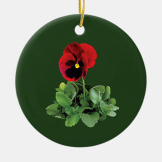 Maroon Pansy Round Ceramic Decoration