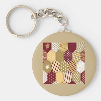 Maroon Pattern Squares Basic Round Button Keychain