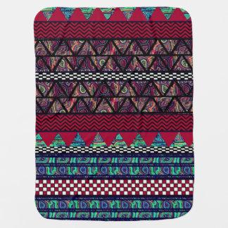 Maroon Peacock Boho Tribal Stripes Pattern Baby Blanket