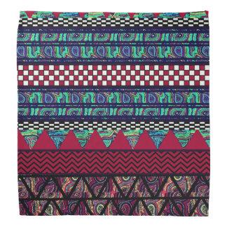 Maroon Peacock Boho Tribal Stripes Pattern Bandana