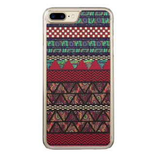 Maroon Peacock Boho Tribal Stripes Pattern Carved iPhone 8 Plus/7 Plus Case