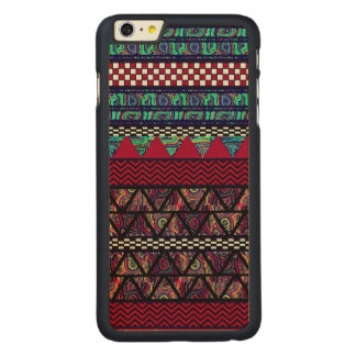 Maroon Peacock Boho Tribal Stripes Pattern Carved Maple iPhone 6 Plus Case