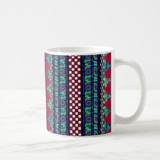 Maroon Peacock Boho Tribal Stripes Pattern Coffee Mug