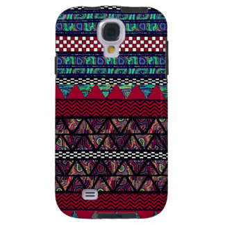 Maroon Peacock Boho Tribal Stripes Pattern Galaxy S4 Case