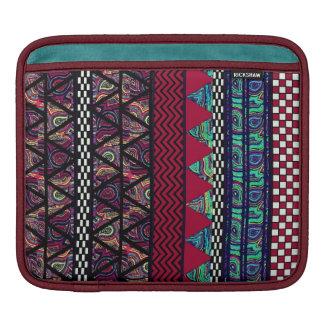 Maroon Peacock Boho Tribal Stripes Pattern iPad Sleeve