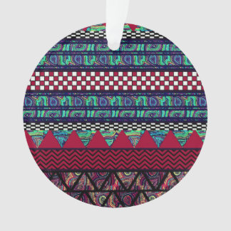 Maroon Peacock Boho Tribal Stripes Pattern Ornament