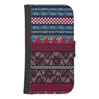 Maroon Peacock Boho Tribal Stripes Pattern Samsung S4 Wallet Case