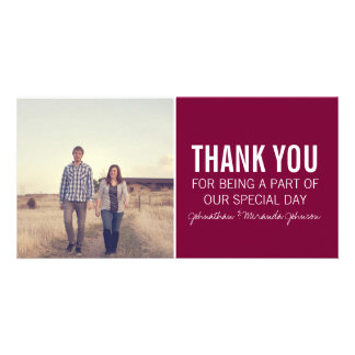 Maroon Photo Thank You Cards Photo Card Template