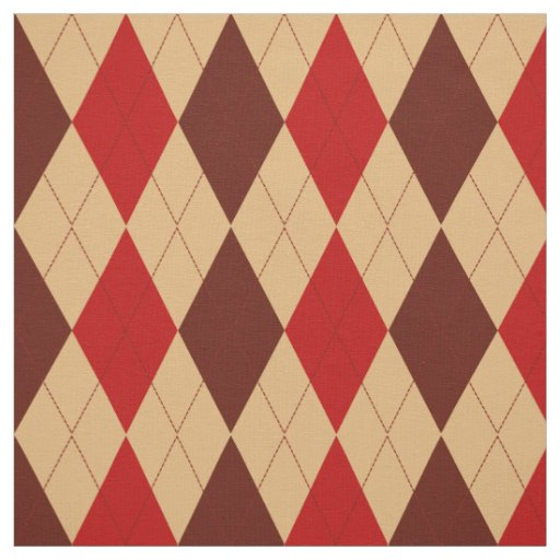 Maroon Red and Tan Argyle Pattern Fabric