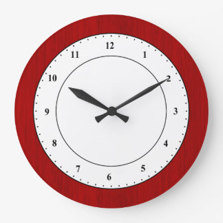 Maroon Red Bamboo Wood Grain Look Large Clock