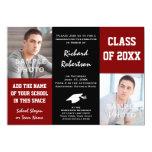 Maroon Red + Black School Colours Photo Graduation Personalised Invitations