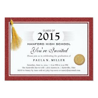 Maroon Red Border Diploma Graduation & Gold Tassel 13 Cm X 18 Cm Invitation Card