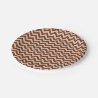 Maroon Red Chevron Paper Plate