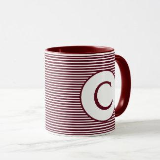 Maroon Red Stripe Monogram Mug