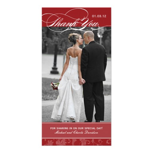 Maroon Red Thank You Photo Card (4x8)