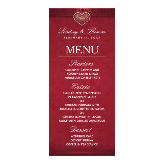 Maroon Red White & Gold Floral Heart Wedding Menu Rack Cards