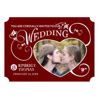 Maroon Red & White Heart Photo Wedding Invitation