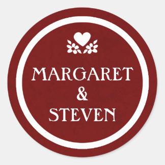 Maroon Red & White Wedding Circle Name Sticker