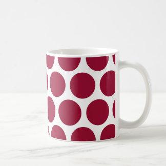 Maroon Retro Colorful Modern Polka Dots Coffee Mug