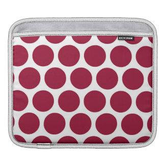 Maroon Retro Colorful Modern Polka Dots Sleeves For iPads