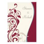 Maroon Silver Swirl Wedding Custom Invites