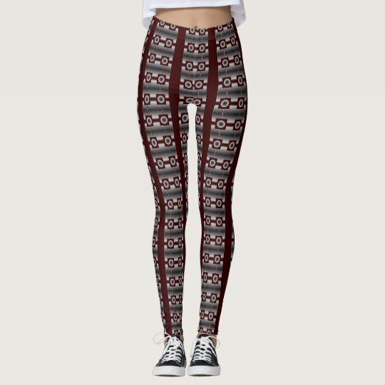 Maroon Stripe Designer Leggings