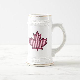 Maroon Striped  Applique Stitched Maple Leaf Beer Steins