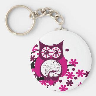 Maroon Swirly Owl Windy Tree Basic Round Button Key Ring